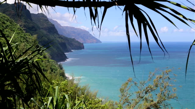 kalalau trail landscape, napali coast state park, kauai, hawaii - na pali coast state park stock videos & royalty-free footage
