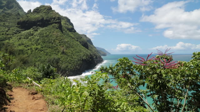Kalalau Trail landschap, Napali kust State Park, Kauai, Hawaï