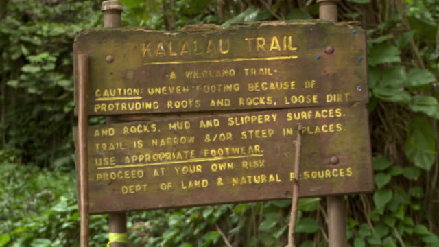 cu 'kalalau trail' wooden sign, kauai, hawaii, usa - na pali coast state park stock videos & royalty-free footage