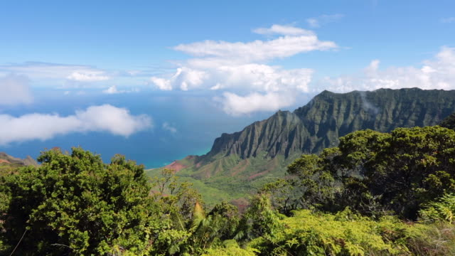 kalalau valley and lookout, napali coast state park, kauai, hawaii - na pali coast state park stock videos & royalty-free footage