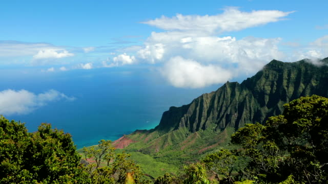 kalalau valley and lookout, napali coast state park, kauai, hawaii - hawaii islands stock videos and b-roll footage