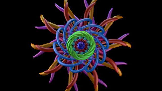 kaleido 1055: kaleidoscopic forms twist and merge - kaleidoscope pattern stock videos & royalty-free footage