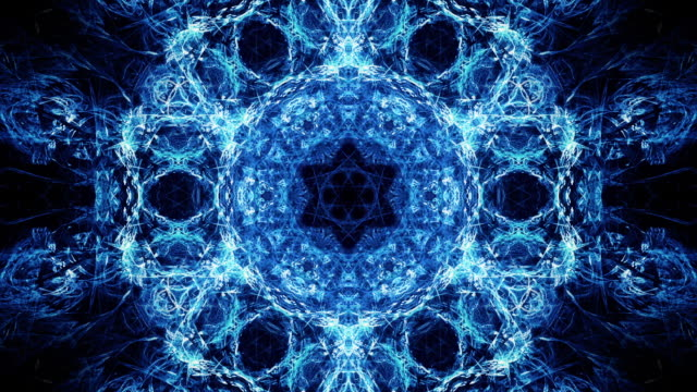 kaleido 1064: kaleidoscopic fractal light strands merge and twist - mandala stock videos & royalty-free footage