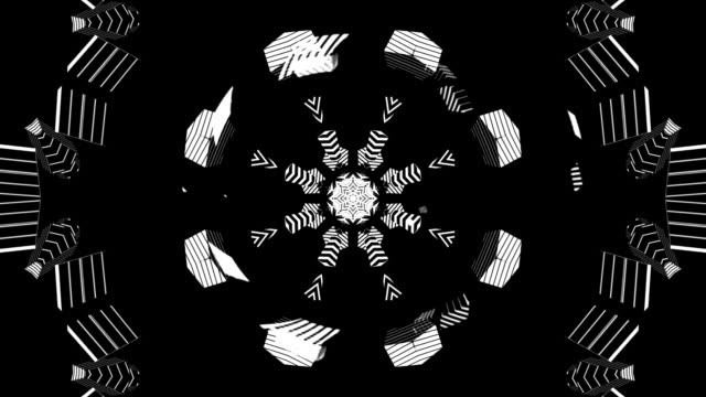 kaleidoscope black and white - kaleidoscope pattern stock videos & royalty-free footage