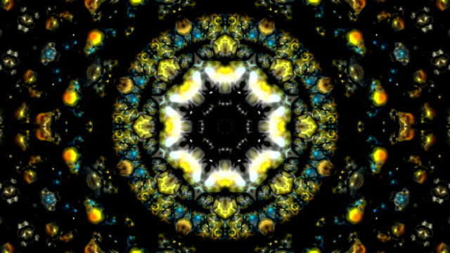 kaleidoscope blue and yellow abstract loopable background - kaleidoscope pattern stock videos & royalty-free footage