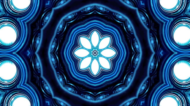 kaleidoscope - blue round - kaleidoscope pattern stock videos & royalty-free footage