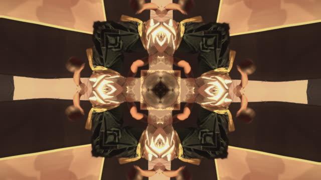 kaleidoscope effect of dancing hands - kaleidoscope pattern stock videos & royalty-free footage