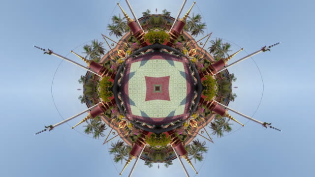 kaleidoscope effect of wat preah prom rath temple with little planet effect - temple building video stock e b–roll