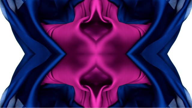 kaleidoscope patten created with blue and pink metallic silky fabric flowing and waving in super slow motion and close up, white background - form stock-videos und b-roll-filmmaterial
