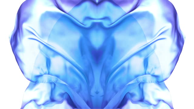 kaleidoscope patten created with blue purple metallic silky fabric flowing and waving in super slow motion and close up, white background - shape stock videos & royalty-free footage
