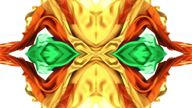 kaleidoscope patten created with colorful silky fabrics flowing and waving in super slow motion and close up, white background - kaleidoskop muster stock-videos und b-roll-filmmaterial