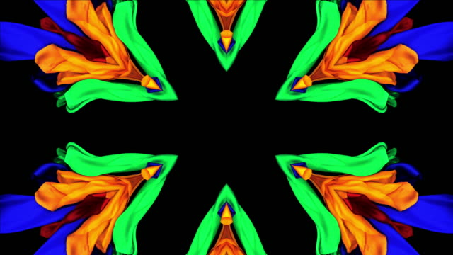 stockvideo's en b-roll-footage met kaleidoscope patten created with colorful silky fabrics flowing and waving in super slow motion and close up, black background - caleidoscoop patroon