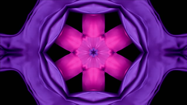 kaleidoscope patten created with metallic pink and purple silky fabrics flowing and waving in super slow motion and close up, black background - flowing stock videos & royalty-free footage