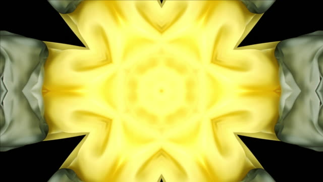 kaleidoscope patten created with metallic silver and yellow gold silky fabrics flowing and waving in super slow motion and close up, black background - textured stock videos & royalty-free footage
