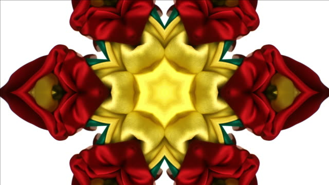vidéos et rushes de kaleidoscope patten created with red and gold metallic silky fabric flowing and waving in super slow motion and close up, white background - lévitation