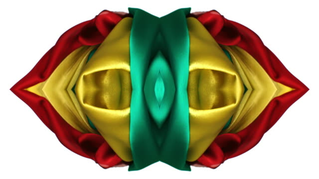 kaleidoscope patten created with red, yellow and green silky fabrics flowing and waving in super slow motion and close up, white background - kaleidoscope pattern stock videos & royalty-free footage