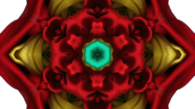 stockvideo's en b-roll-footage met kaleidoscope patten created with red, yellow and green silky fabrics flowing and waving in super slow motion and close up, white background - caleidoscoop patroon