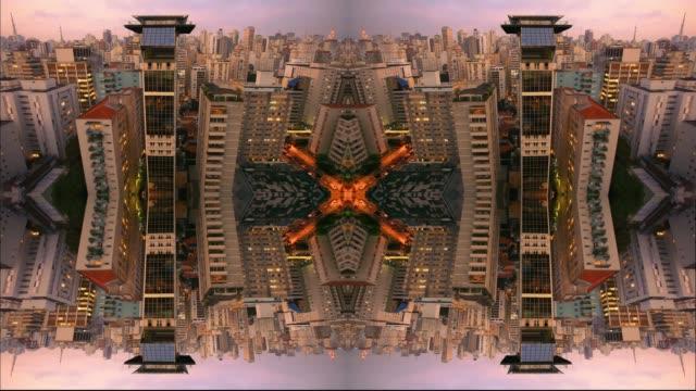kaleidoscope pattern abstract background, Mandala, City Scape of Sao Paulo, Brazil