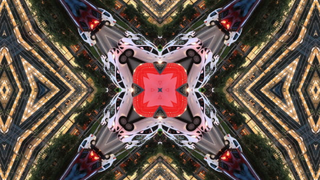 kaleidoscopic image of urban landscape. faria lima avenue, sao paulo, brazil - kaleidoscope pattern stock videos & royalty-free footage