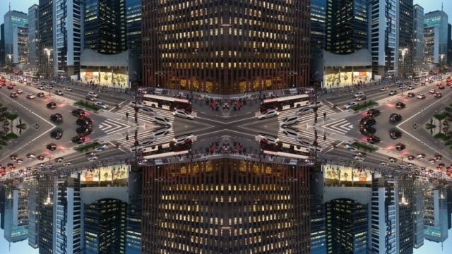 kaleidoscopic image of urban landscape. Paulista Avenue, Sao Paulo, Brazil