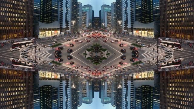 kaleidoscopic image of urban landscape. paulista avenue, sao paulo, brazil - kaleidoscope pattern stock videos & royalty-free footage