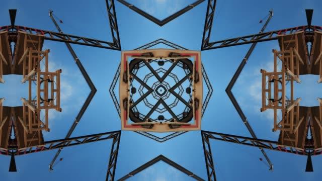 kaleidoscopic mandala of construction site, sao paulo state, brazil - kaleidoscope pattern stock videos & royalty-free footage