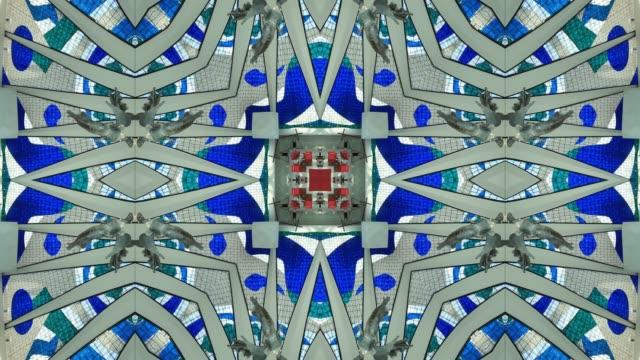 Kaleidoscopic Mandala of Metropolitan Cathedral of Brasilia, Interior view, Brasilia, Brazil