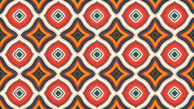 色の幾何学的形状の万華鏡パターン。抽象幾何学的な vj モーショングラフィックスの背景。コンピュータで生成されたループアニメーション。3d レンダリング。4k uhd - 繰り返し点の映像素材/bロール