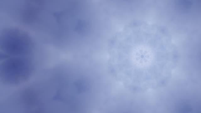 kaleidoscopic snowflake clouds. - kaleidoscope pattern stock videos & royalty-free footage