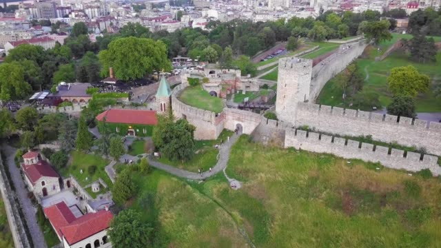 kalemegdan fortress and park - river danube video stock e b–roll
