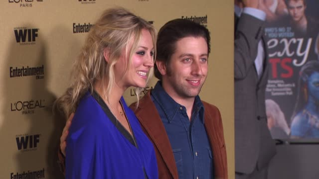 kaley cuoco and simon helberg at the entertainment weekly and women in film pre-emmy party at west hollywood ca. - pre emmy party stock videos & royalty-free footage