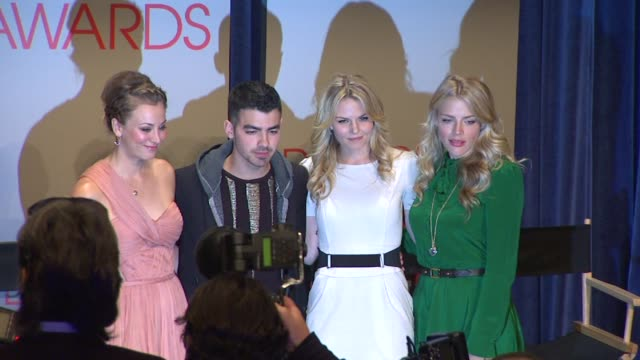 kaley cuoco, joe jonas, jennifer morrison, and busy philipps at the people's choice awards 2012 nominations press conference - people's choice awards stock videos & royalty-free footage