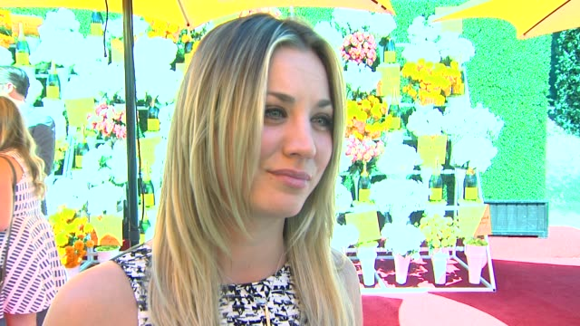 kaley cuoco on being back at the veuve clicquot polo classic, talks about her polo style, talks about her recent engagement, if they have started... - palisades park stock videos & royalty-free footage