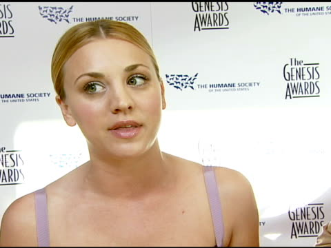 Kaley Cuoco on the event her animals and caring at the 2008 Genesis Awards at the Beverly Hilton in Beverly Hills California on March 30 2008