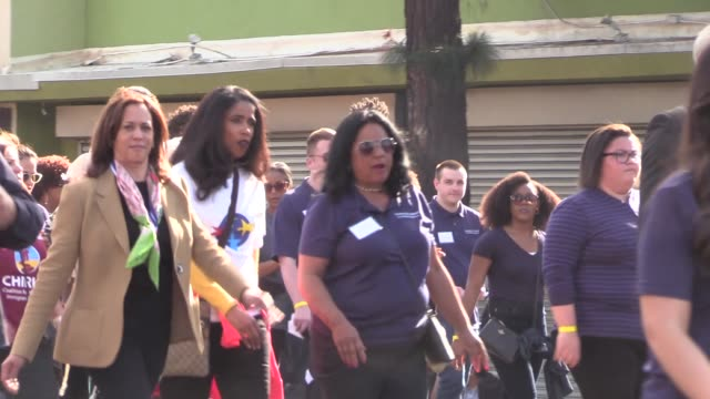 Kamala Harris takes part in the Martin Luther King Jr Day Parade in Los Angeles in Celebrity Sightings in Los Angeles