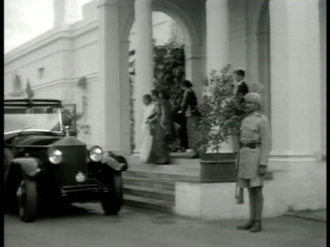 kamala nehru standing on opulent porch w/ mayling soong chiang kaishek seated on porch w/ jawaharlal nehru ms nationalist chinese leader chiang... - chiang kai shek stock-videos und b-roll-filmmaterial
