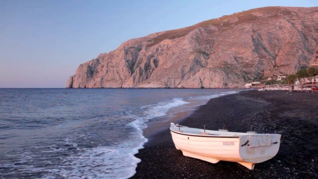 kamari beach - santorini stock videos & royalty-free footage