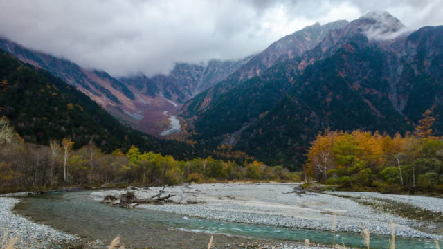 4k kamikochi national park landscape view with river and leaves color change in nagano prefecture, japan - toyama prefecture stock videos and b-roll footage