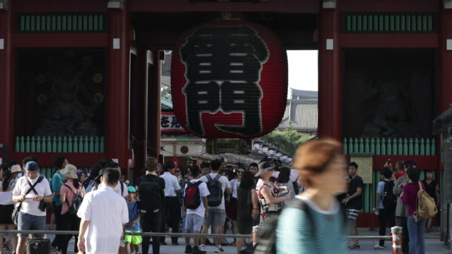 Kaminarimon an entrance gate to the Sensoji temple a shopping street leading to the temple in the Asakusa district and Tokyo Skytree Tokyo Japan on...