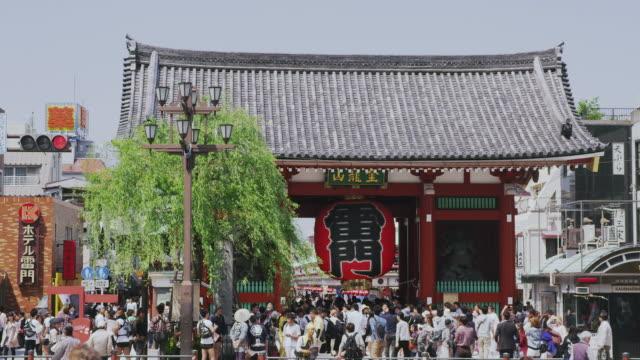 Kaminarimon gate and willow tree in Tokyo, Japan