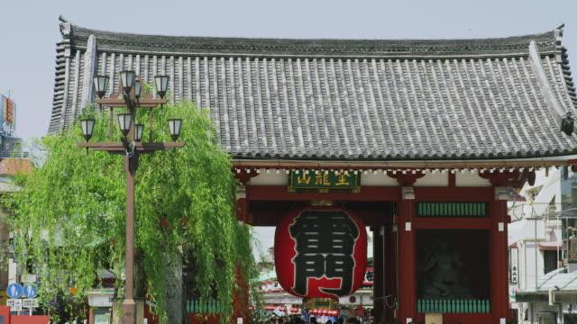 vídeos de stock, filmes e b-roll de kaminarimon gate and willow tree in tokyo, japan - templo asakusa kannon