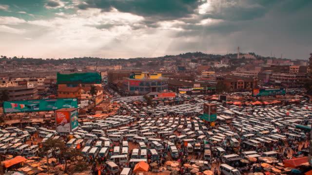 Kampala Uganda bus parking depot timelapse Africa