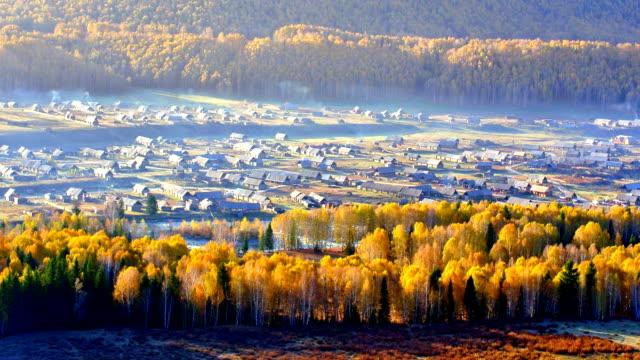 kanas hemu village in the morning - xinjiang province stock videos & royalty-free footage