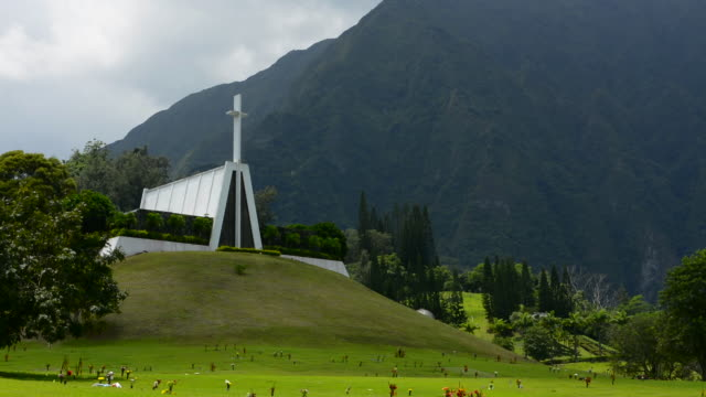 kaneohe hawaii oahu beautiful temple called valley of the temple memorial park in mountains - oahu stock videos and b-roll footage