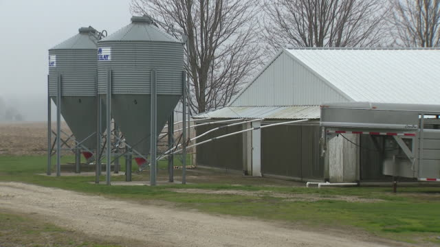 wgn kaneville il us agricultural buildings and field at gould farms near kaneville in kane county during pork shortage amid covid 19 pandemic on... - scheune stock-videos und b-roll-filmmaterial