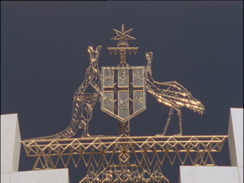 Kangaroo and an Emu of Australian crest atop Australian Parliament building Canberra