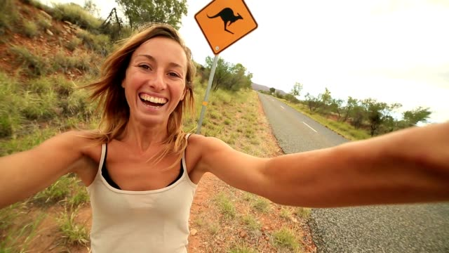 kangaroo selfie australia - animal crossing sign stock videos & royalty-free footage