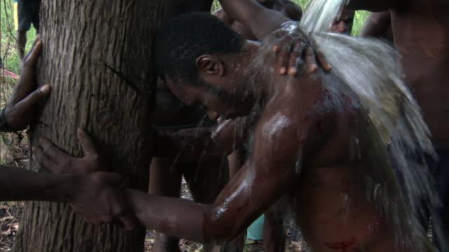 Kaningara crocodile man being washed after initiation scarring ceremony, Sepik, PNG
