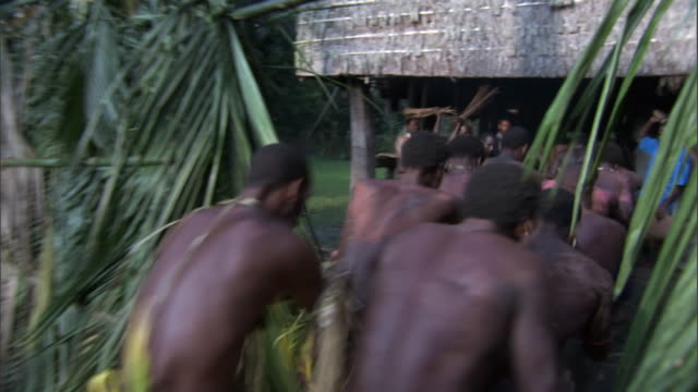 Kaningara crocodile men enter spirit house during initiation scarring ceremony, Sepik, PNG