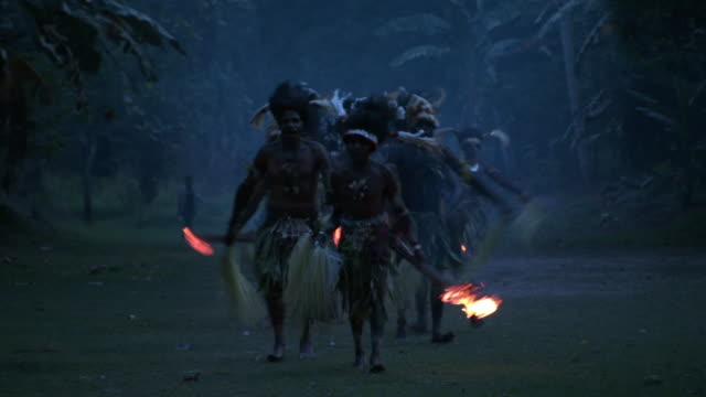 kaningara crocodile people perform at initiation ceremony, sepik, png  - headdress stock videos and b-roll footage